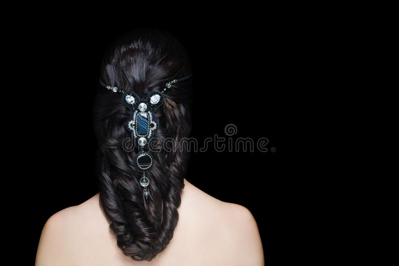 Woman hairstyle gathered hairdo curls royalty free stock images