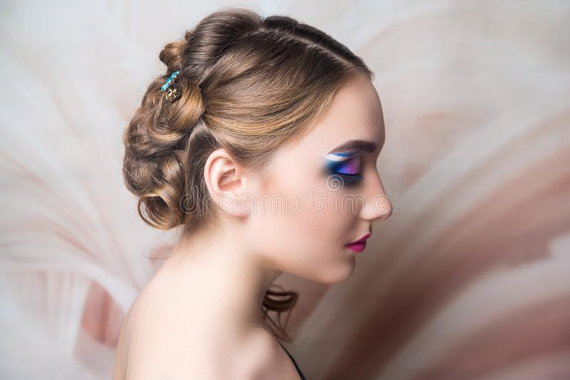 Woman hairstyle gathered hairdo curls royalty free stock photos