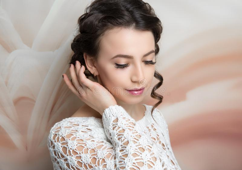 Woman hairstyle gathered hairdo curls royalty free stock photo