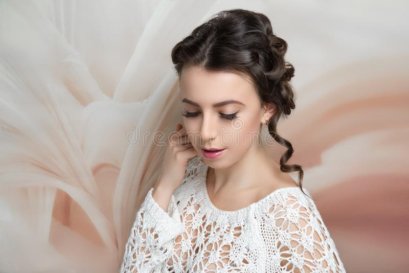 Woman hairstyle gathered hairdo curls royalty free stock image