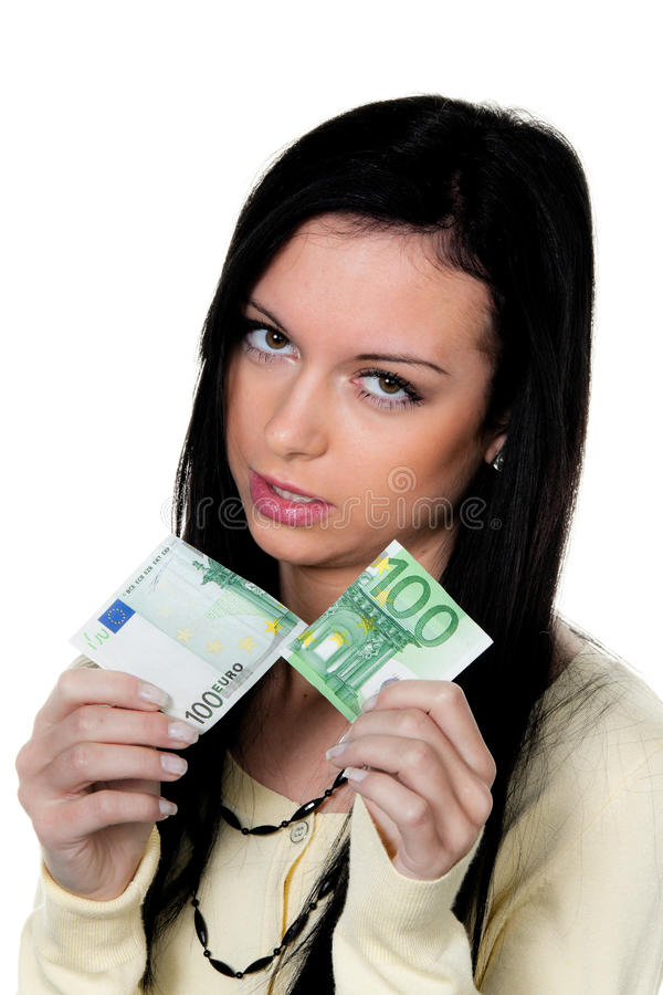 Woman With Half A Euro Stock Photo