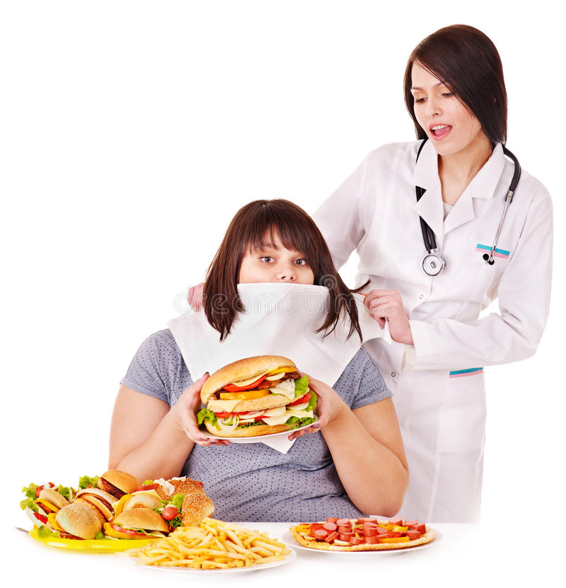 Woman with hamburger and doctor. Overweight women with hamburger and doctor royalty free stock image
