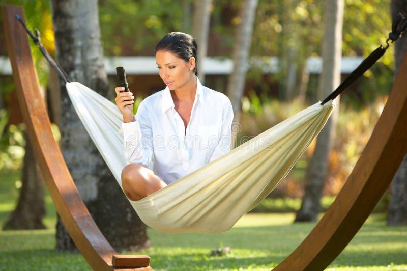 Download Woman on hammock stock photo. Image of model, calm, luxury - 3474586