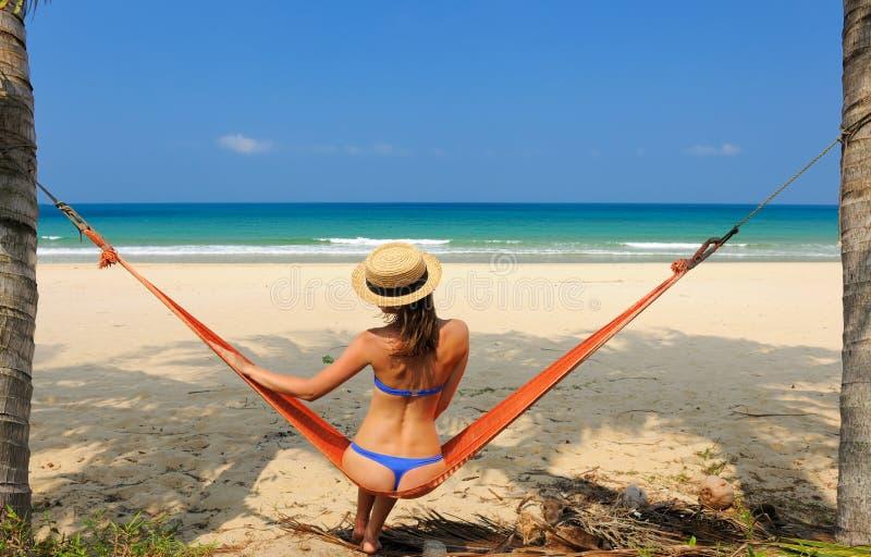 Download Woman in hammock on beach stock photo. Image of beautiful - 29219292