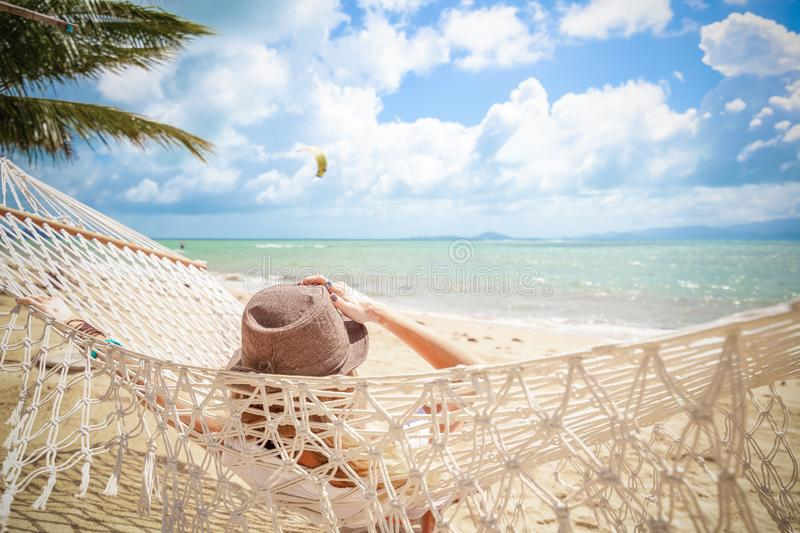Woman on hammock. Lifestyle concept. Summer vacation. Nature concept. Summer tourism, travel. royalty free stock photos