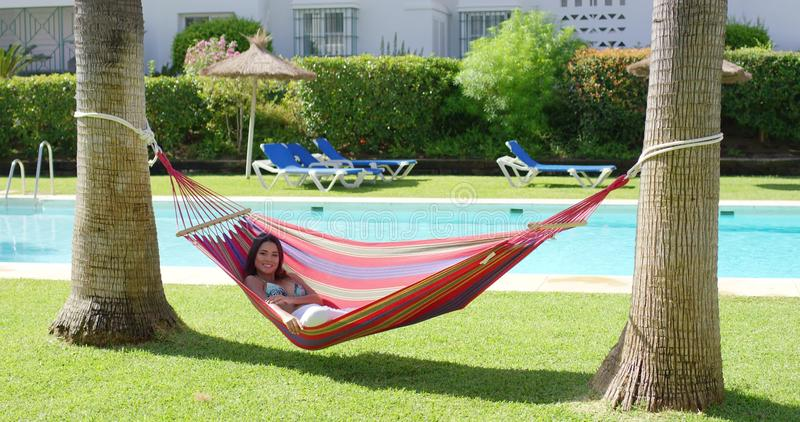 Woman In Hammock At Tropic Resort With Pool Stock Footage Video
