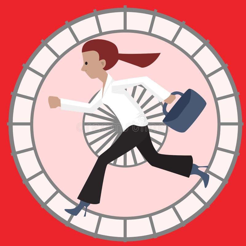 Woman in hamster wheel. Funny cartoon vector illustration vector illustration