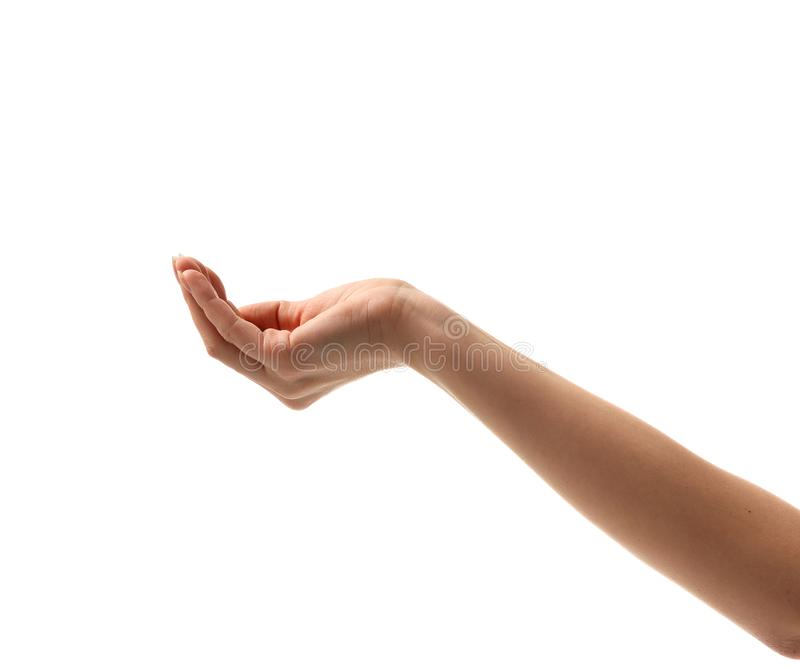 Woman hand asking for support money aim help waiting for water stock photo
