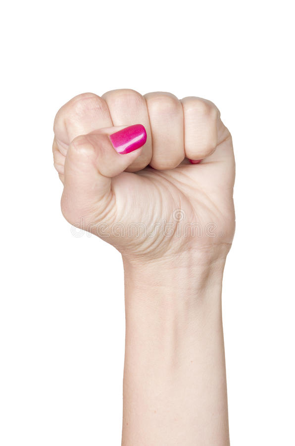 Woman Hand with clenched fist stock photography