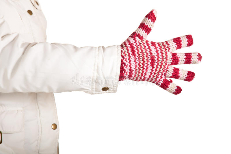 Download Woman Hand In Colorful And Warm Gloves Isolated Stock Photo - Image: 17233524