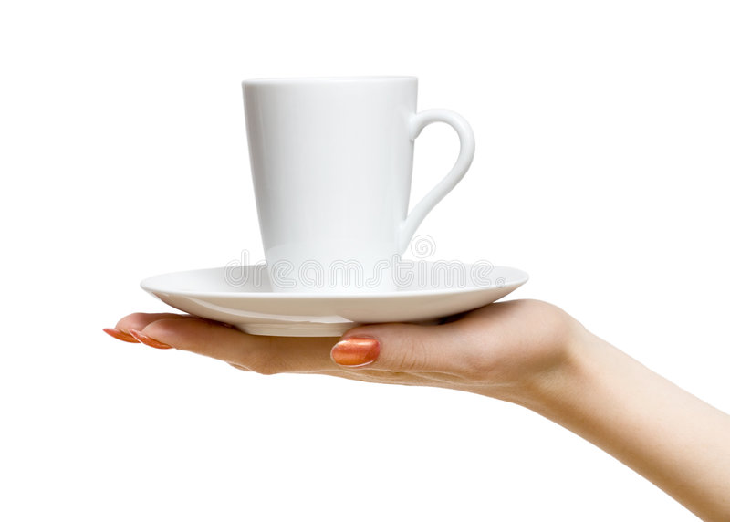 Woman hand with cup stock photo