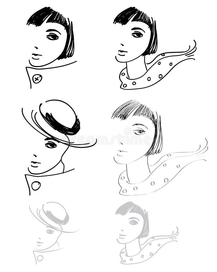 Woman hand drawings royalty free illustration