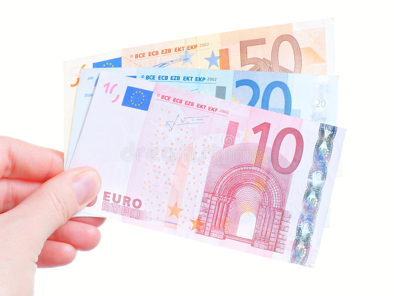 Woman hand and euro banknote cash stock images