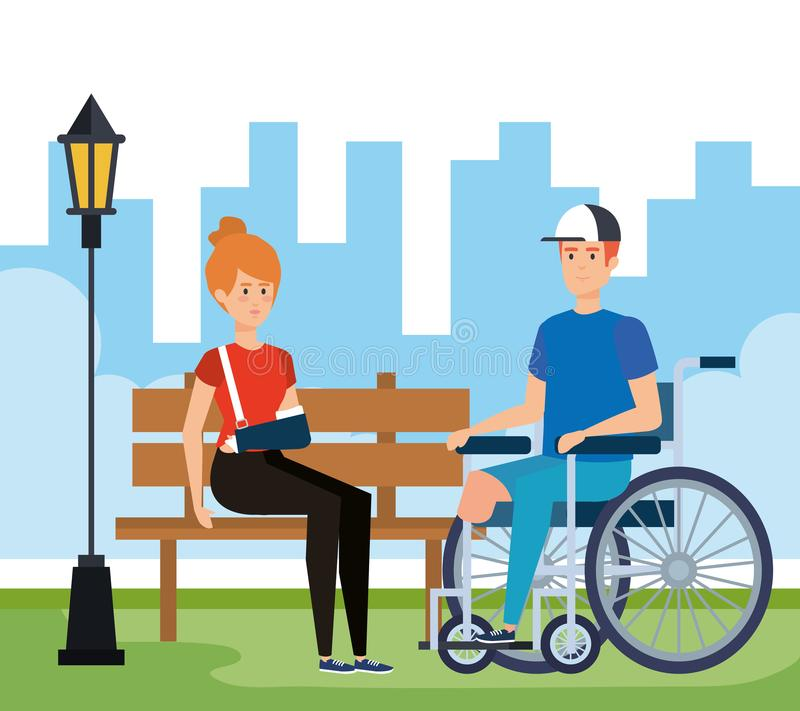 Woman with hand fracture and man without leg. Vector illustration royalty free illustration