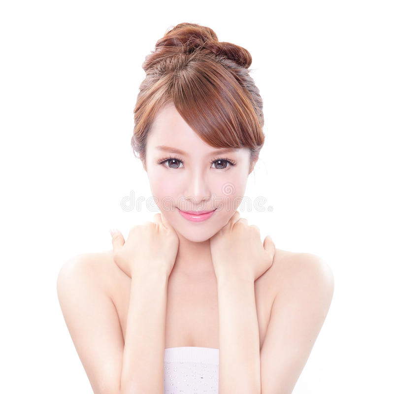 Woman with hand on her shoulder stock photo