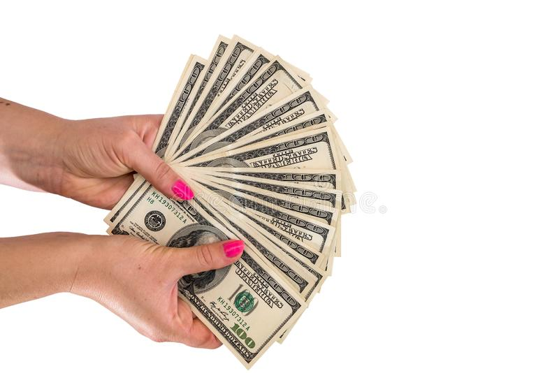 Woman hand holding american dollar bills isolated on white stock image