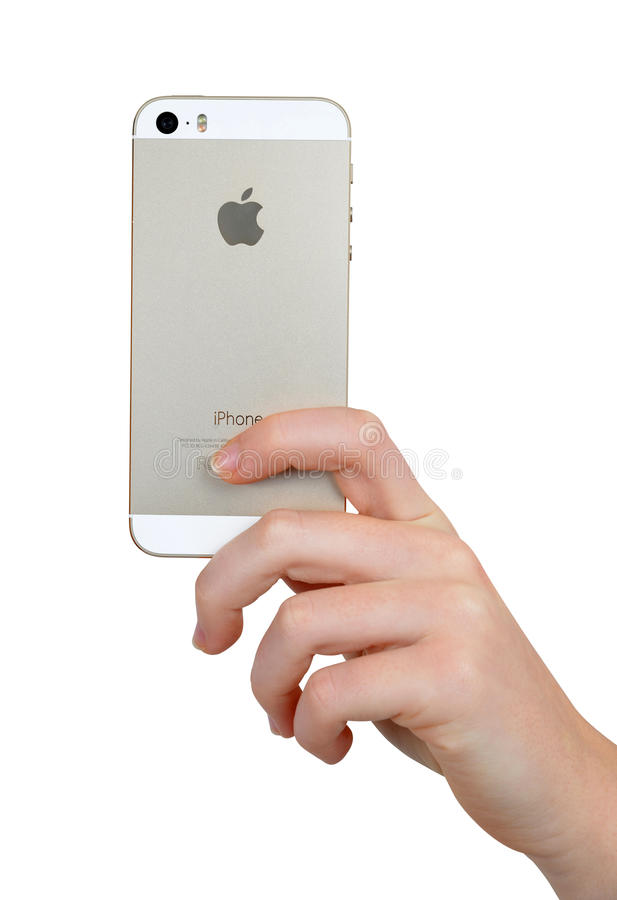 Woman Hand Holding Apple iPhone 5S Smart Phone royalty free stock photography