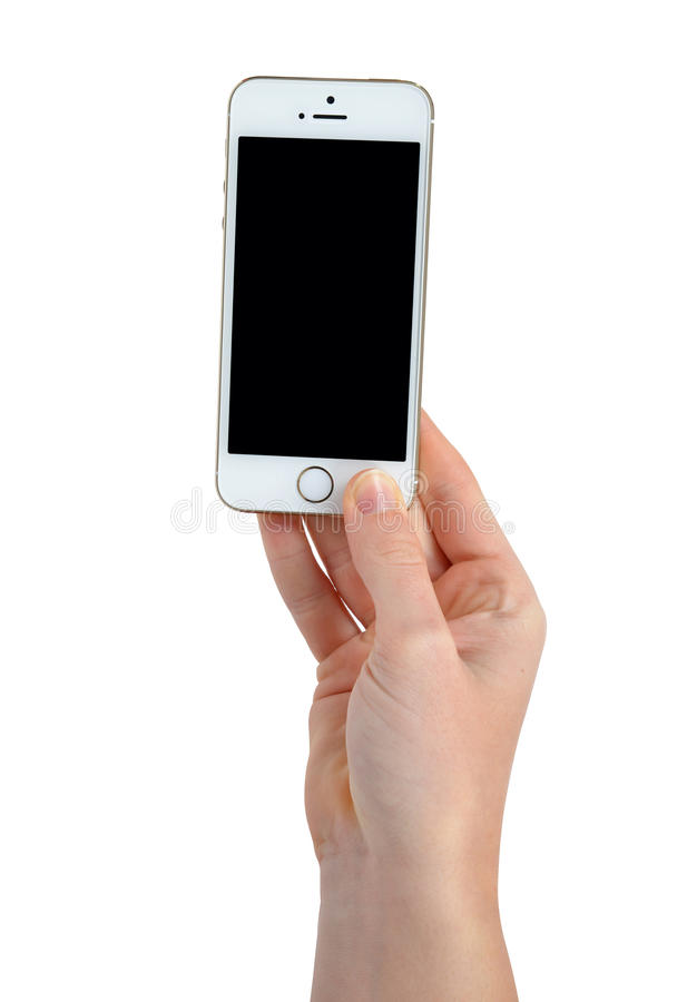 Woman Hand Holding Apple iPhone 5S Smart Phone stock image