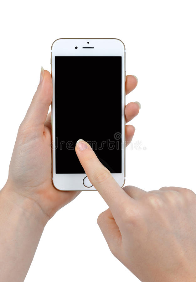 Woman Hand Holding Apple iPhone 6 Smart Phone royalty free stock image