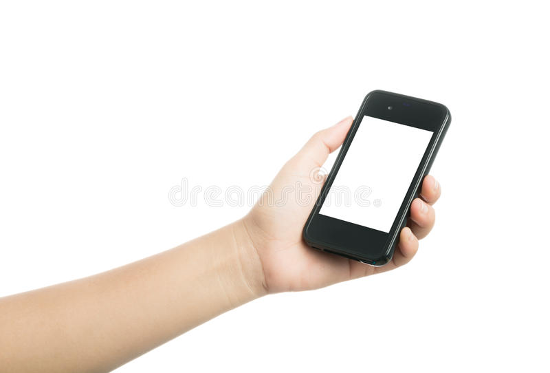 Woman hand holding black smart phone with blank screen. Isolated on over white background stock photo