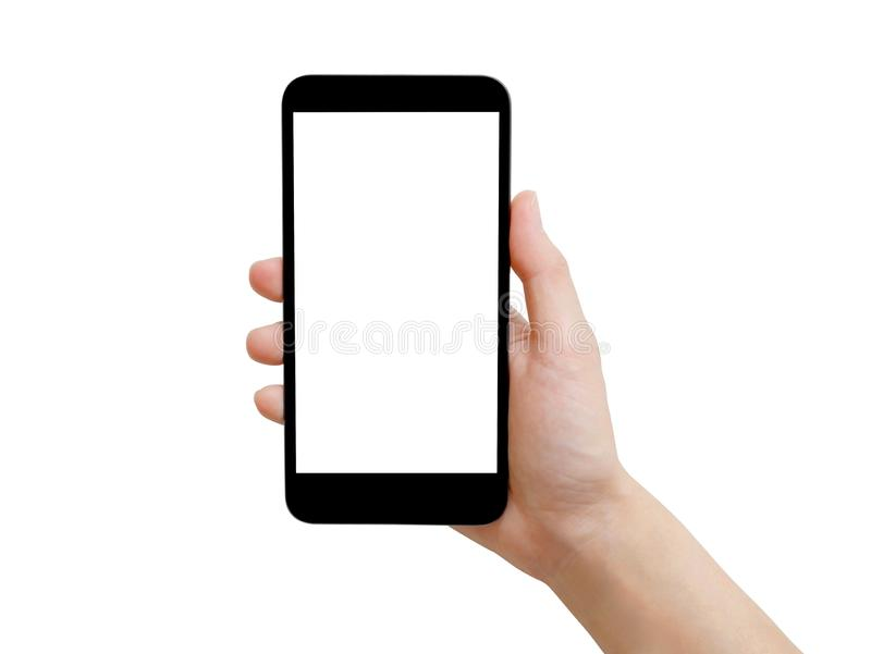Woman hand holding black smartphone with white screen royalty free stock images