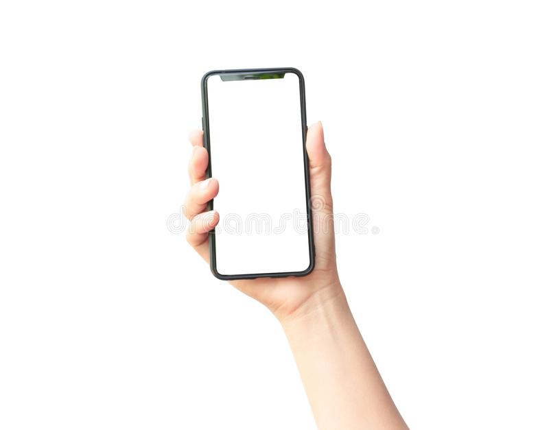 Woman hand holding the black smartphone. On white background royalty free stock image