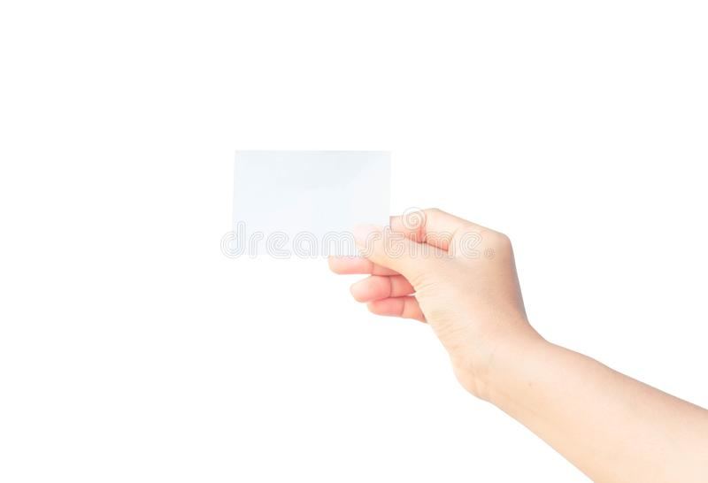Woman hand holding blank paper isolated on white background royalty free stock images