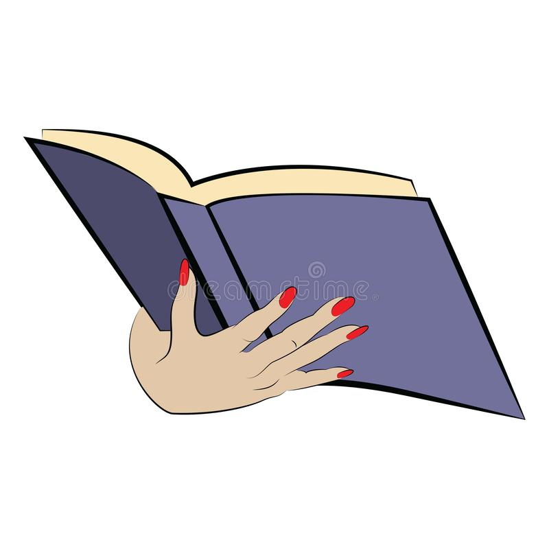 Woman hand holding a book illustration royalty free illustration
