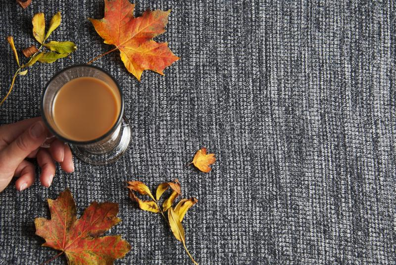 Woman hand holding chocolate or cocoa drink cup over knitted grey background, cosy autumn background with copy space. Still life. stock image