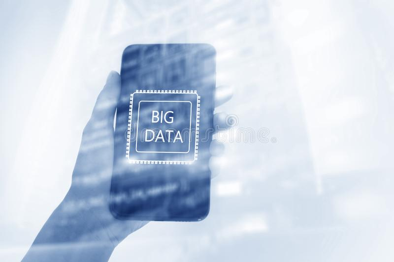 Woman Hand holding mobile phone. Server room background. Inscription on a virtual screen: Big Data. Double exposure stock photos