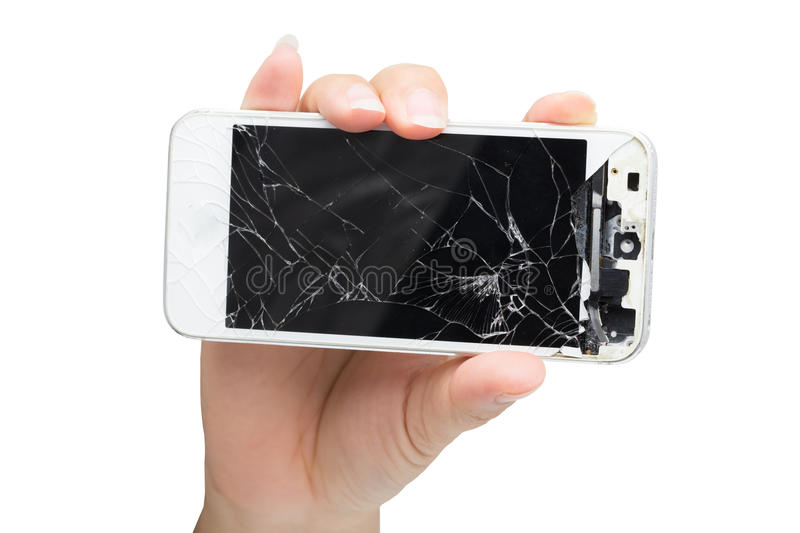 Woman hand holding mobile smartphone with broken screen royalty free stock photo