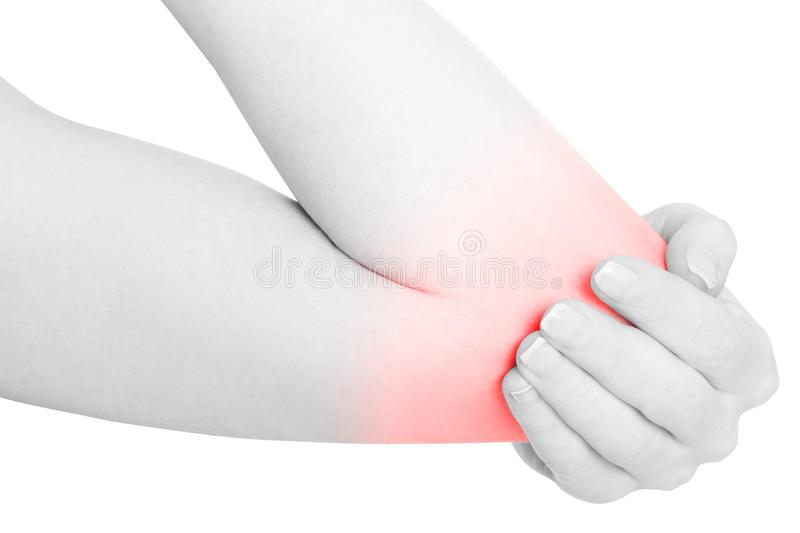 Woman hand holding painful elbow isolated on white, clipping pat stock photography