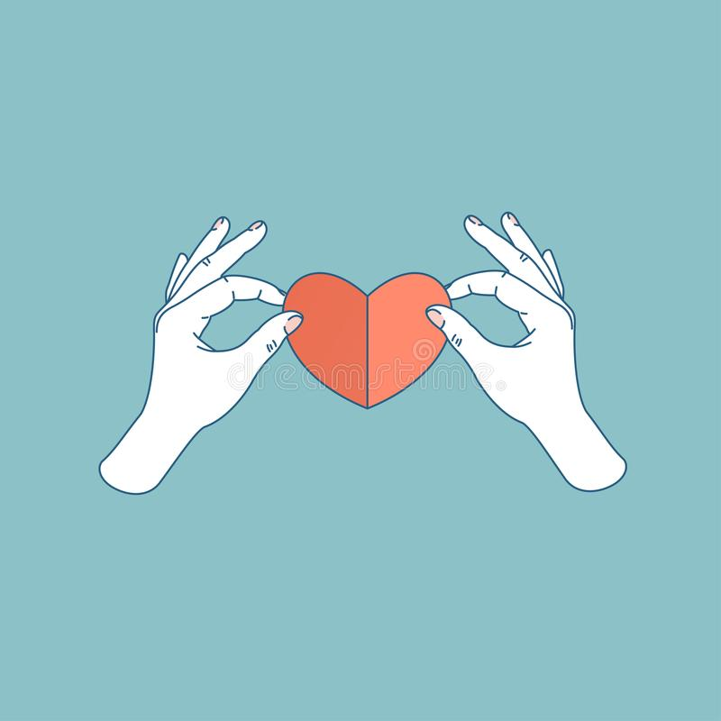 Woman hand holding paper heart. Handmade heart shape. Vector illustration royalty free illustration
