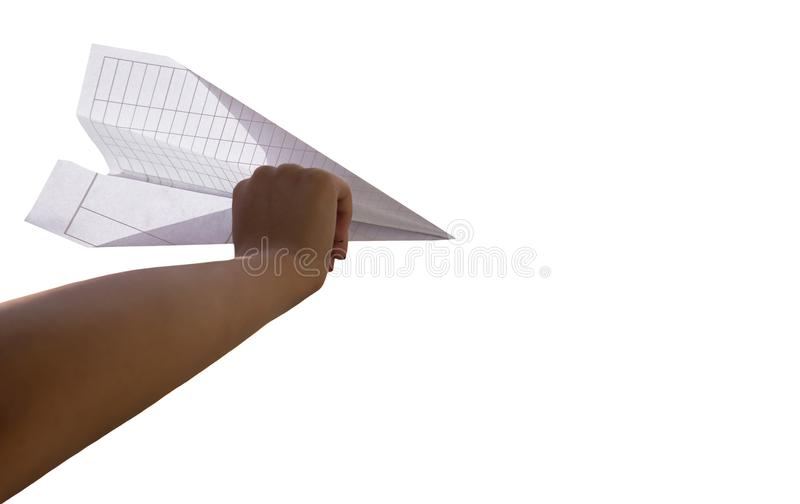 Woman hand holding paper plane isolated royalty free stock photos