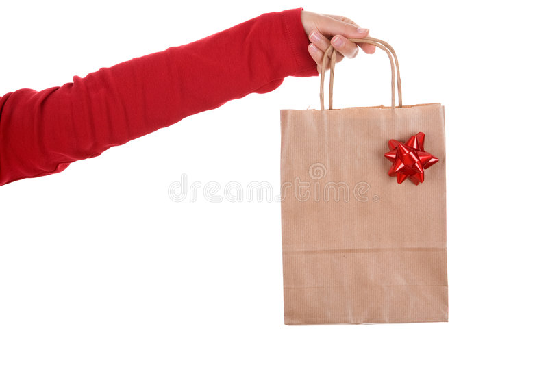 Woman Hand Holding Papper Bag With Red Ribbon Stock Photography