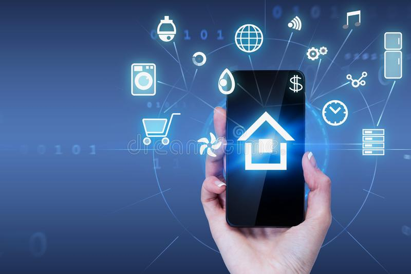 Woman hand holding phone with smart home interface stock illustration