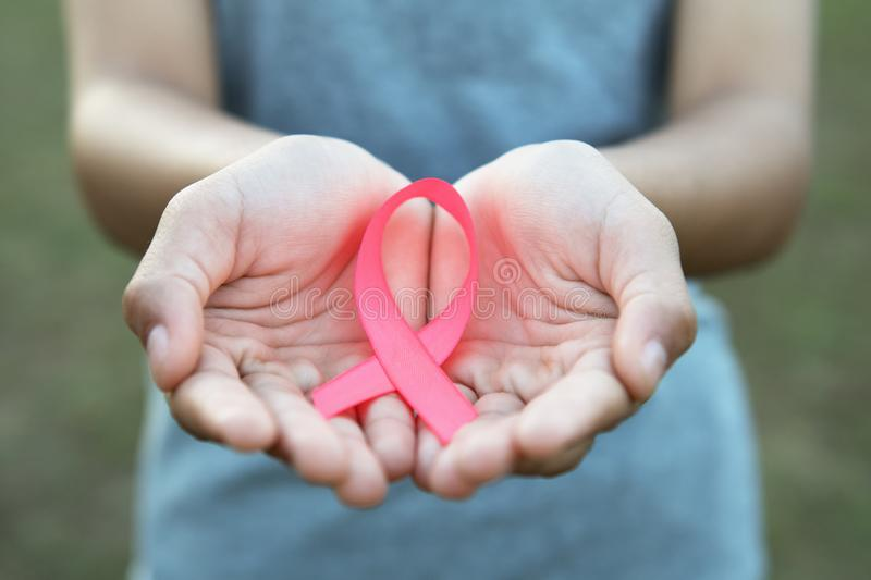 woman hand holding pink ribbon breast cancer awareness stock photography