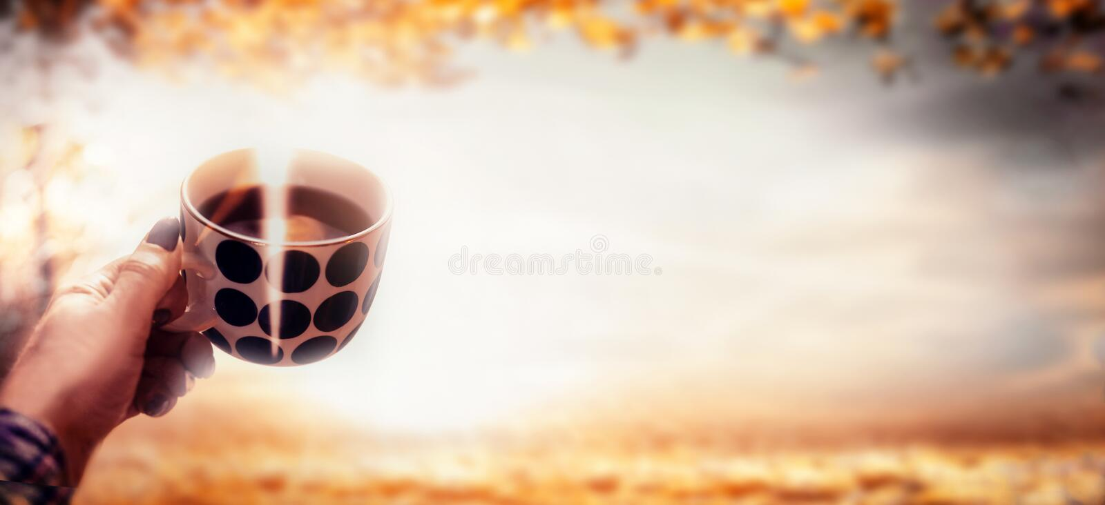 Woman hand holding polka dot cup with steamed hot coffee at autumn nature landscape with fall foliage and sunlight. Outdoor. royalty free stock photo