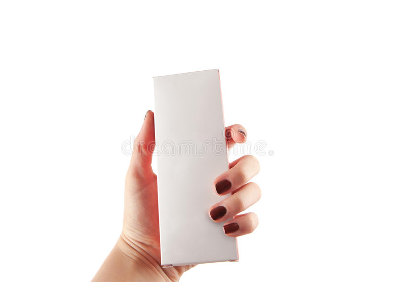 Woman hand holding a small box with empty white surface suitable stock images