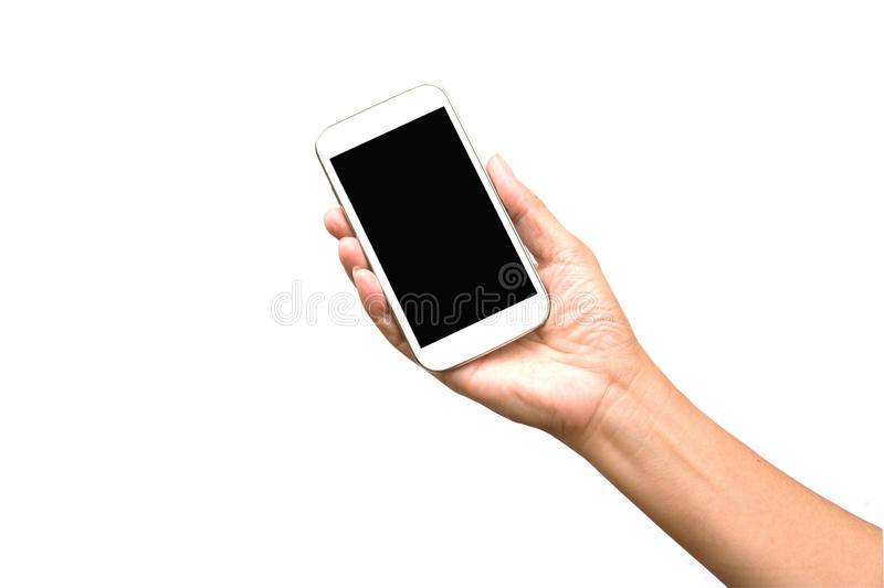 Woman hand holding smart phone isolated on white stock photography