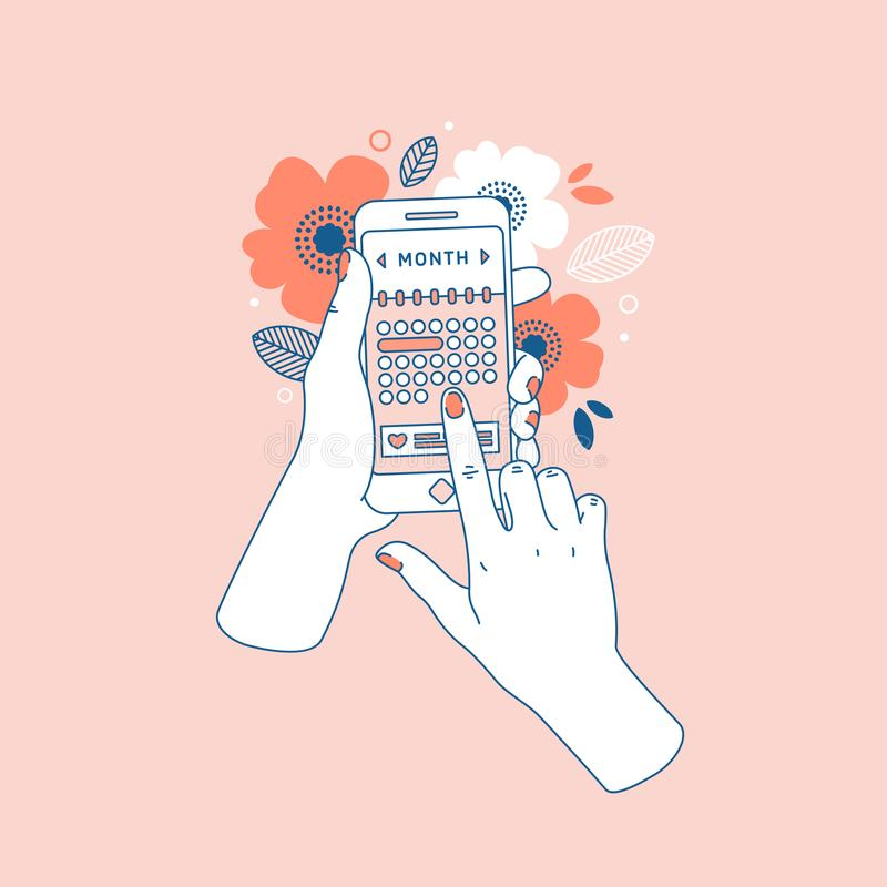 Woman hand holding smartphone with menstruation cycle calendar. Floral phone in hands. Vector illustration stock illustration