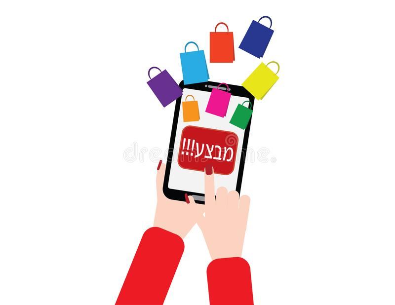 Woman hand holding smartphone with shopping bags and Hebrew sale button. Woman hand holding smartphone and pressing on a red sale button. shopping bags flying stock illustration