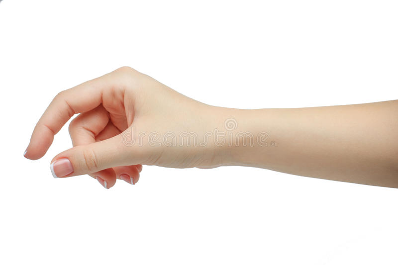 Woman hand holding some like a blank card isolated on a white background. manicured hand stock images