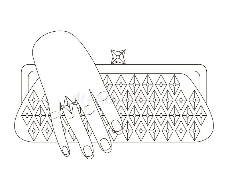 Woman hand holds clutch bag. Stylized outline drawing stock illustration