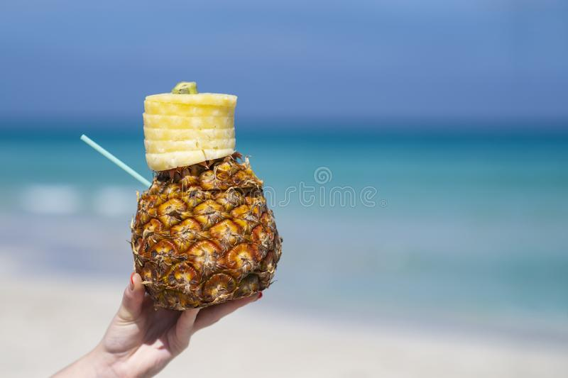 Woman hand holds tropical pineapple cocktail on the beach. Beautiful sea ocean sky white sand beach. Cuba space for text royalty free stock images
