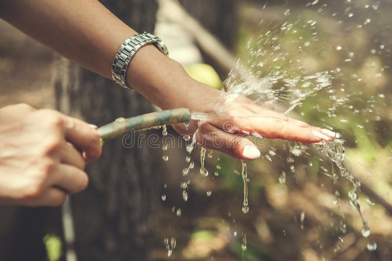 Woman hand hose of water royalty free stock photos