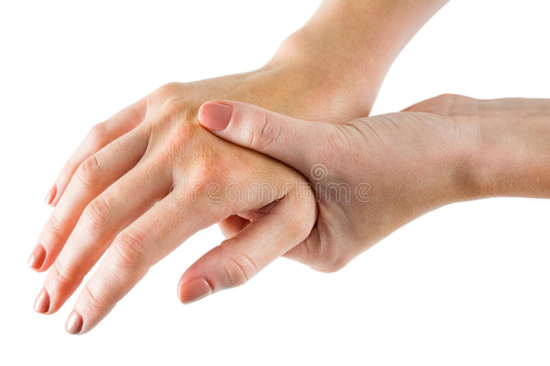 Woman with hand injury royalty free stock photo