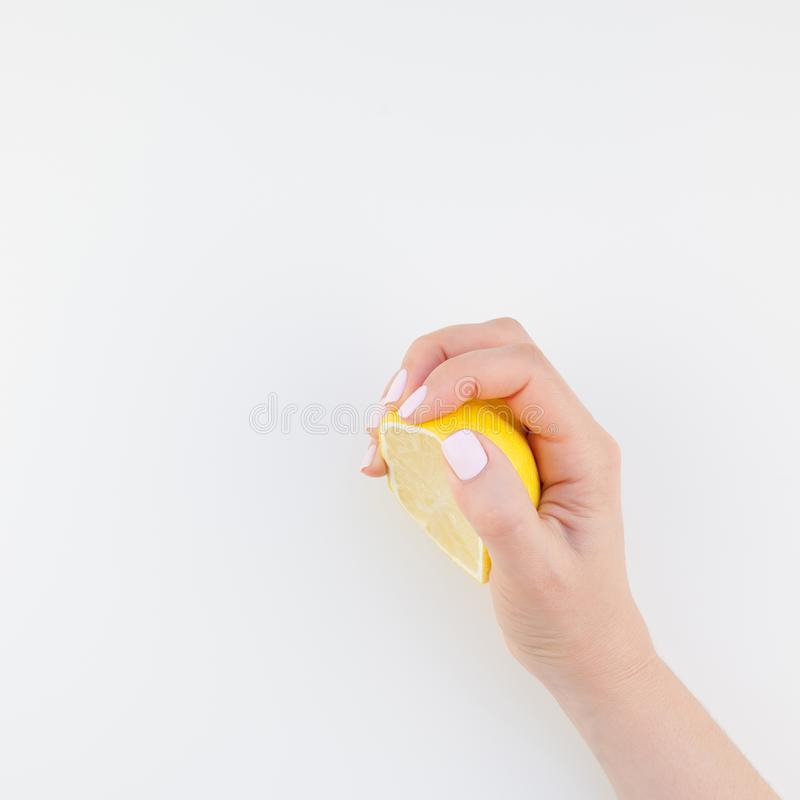 Woman hand with lemon royalty free stock photos