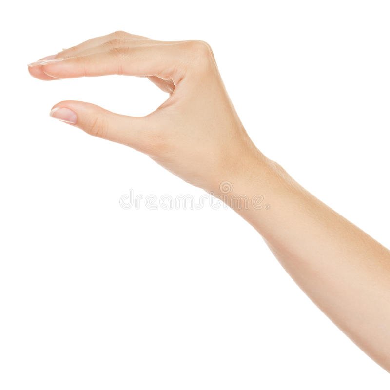 Woman hand measuring invisible items stock images