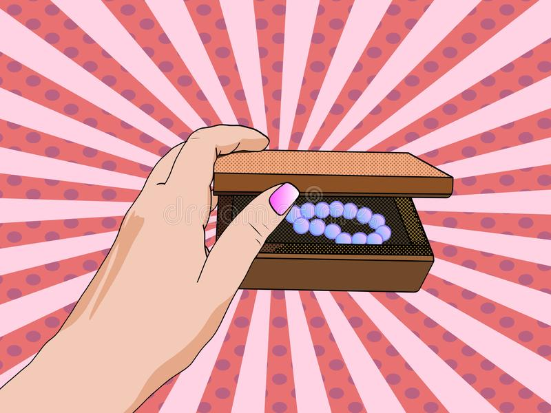 Woman hand opening jewelry box. Close-up opens the casket. Pop art royalty free illustration
